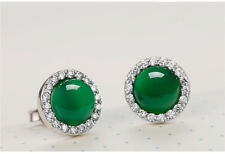 Natural Green Chalcedony Round Stud Earrings & 925 Sterling Silver