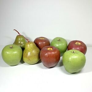 Realistic Faux Fruit Apples and Pears Wax Candles Staging Home Décor