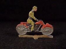 Ancien jouet penny toy Moto motard plat d'étain militaire début 1900 Germany