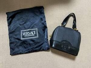 Genuine Versace Bag Leather Medusa Black Vintage