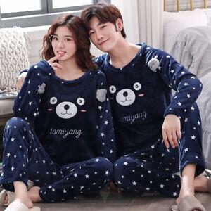 Hot Couples Unisex Flannel Sleepwear Warm Fleece Pyjama Sets Nightgown Lovers Pj