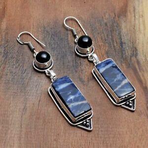 """Sodalite Black Onyx Handmade Drop Dangle Earrings Jewelry 2.68"""" AE 43617"""