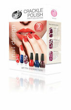 RIO CRACKLE PARTY NAIL POLISH ART KIT 3 COLOURS INSTANT RESULTS AMAZING EFFECTS