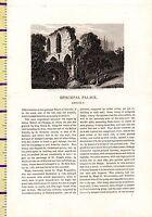 C1815 Antico Piccolo Georgiano Stampa ~ Episcopale Palazzo Lincoln ~ Forti Testo