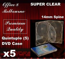 5 x PREMIUM QUALITY Quintuple 5 DVD Case Cover 14mm - Holds 5 CD DVD Covers