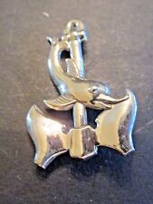 Vtg Lang Silver Porpoise Dolphin On Anchor Pin Brooch