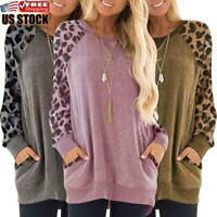 Women's Long Sleeve Casual Long Tunic Tops Ladies Leopard Blouse Shirt Pullover