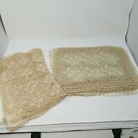 Vintage Crochet Coated Beige Linens Table Runner 12 Place Mats