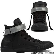 Womens CONVERSE All Star REFLECTIVE BLACK LEATHER HI TOP Trainers Boot SIZE UK 5