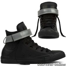 Womens CONVERSE All Star REFLECTIVE POP BLACK LEATHER HI Trainers Boot SIZE UK 4