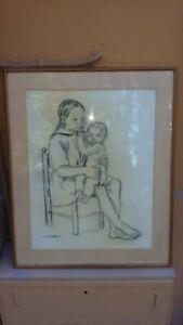 g.persichetti donna/mamma con bambino-disegno a carboncino-incorniciato cm77x60