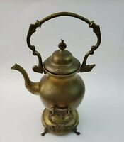 VINTAGE BRASS TEAPOT KETTLE ON STAND WITH WARMER METAL WARE COLLECTIBLE