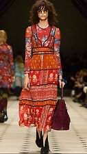 NWT $4000 Burberry London Prorsum Military Red Patchwork Silk Midi Dress 38 6