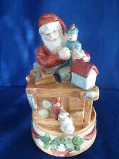 """Vintage Homco Santa Claus Rotating Music Box """" Jingle Bells """""""