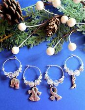 Baby it's Cold Outside! 4 Holiday Wine Glass Charms Great Inexpensive Gift Idea!