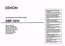 Denon  Bedienungsanleitung user manual owners manual  für DBP- 1610