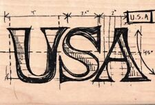 Tim Holtz Collection USA word sketch guide wood mounted Rubber stamp - New