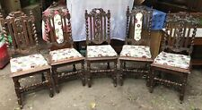 Five Gothic Style Antique Mahogany Dining Chairs