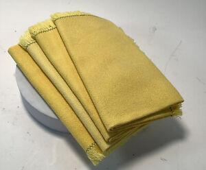 Set Of 4 Yellow Napkins Fringed