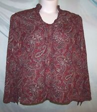 White Stag Multi-Color Paisley Polyester Long Sleeve Textured Tunic Blouse XL