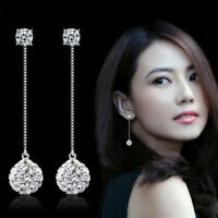 Elegant Women White Sapphire Long Dangle Earrings Silver Plated Drop Jewelry