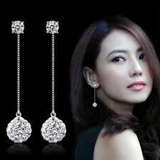 Elegant Women White Sapphire Long Dangle Earrings Silver Plated Drop Jewelry