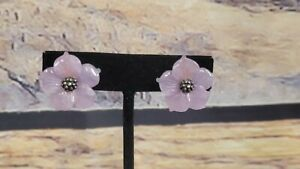 RARE Stephen Dweck Sterling Silver PURPLE MOTHER OF PEARL CLIP ON EARRINGS