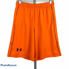 UNDER ARMOUR Mens Medium Raid Solid Orange Shorts Loose Fit HeatGear Gym Running
