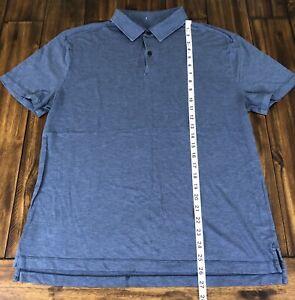 Lululemon Polo Collared Shirt Men's Large Blue Golf Short Sleeve *Flaws