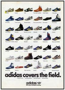 Vintage Adidas Covers The Field Timeline Evolution Poster Print RARE (A3)