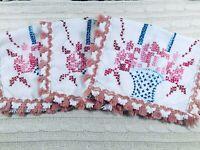 3 Vintage Napkins/Placemats Handmade Cross Stitched Baskets w/ Fringe Tassels