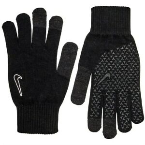 Nike Knit Grip Adult Men's Warm Winter Gloves Touch Screen Compatible Black Wht