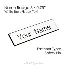 "Name Badge Tag Plate White/Black Safety Pin 3x0.75"" Personalised Engraved Cus..."