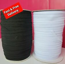 Flat Corded Elastic 6mm WHITE or BLACK 8 Cord - Pick 1 - 2 - 3 - 5 or 10 Metres
