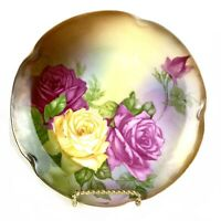 Antique J & C Louise Bavaria Cabinet Plate Pink Yellow Roses