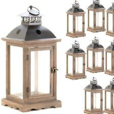 "Lot 10 Large Rustic 15.8"" Wood Lantern Candleholder Brown Wedding Centerpieces"