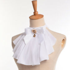 Steampunk Chiffon Ruffle Collar Vintage Women Gothic Jabot Bowknot Pin Collar