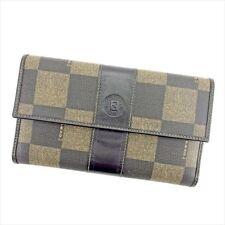 Fendi Wallet Purse Long Wallet Black Beige Woman unisex Authentic Used T5684