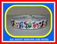 1 INCH MARIO BROTHER AND FRIENDS WHITE GROSGRAIN RIBBON-1 YARD