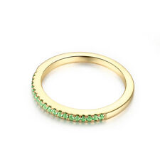 10K Yellow Gold Anniversary Pave Round Cut Green Cubic Zirconia 0.15CT Band Ring