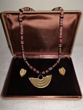 Vintage Pre-Columbian Reproduction Columbia Beaded Agate~Onyx Necklace~Earrings