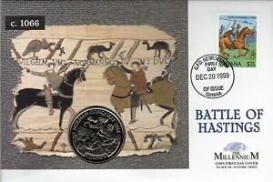 PNC GUYANA / IOM JOINT ISSUE BATTLE OF HASTINGS MILLENNIUM 1 CROWN COIN FDC