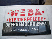 """Original altes Emailschild """"Weba Kleiderpflege Oberhemdendienst Annahme hier"""""""