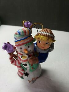 CAMPBELLS SOUP KIDS CHRISTMAS ORNAMENT SNOWMAN WITH SOUP KID