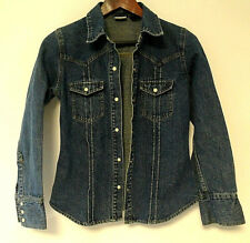 Arizona jean thick denim jacket button up top shirt western mother of pearl med