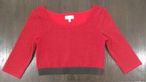 marilyn monroe Crop Top M Red Black Check 3/4 Sleeve