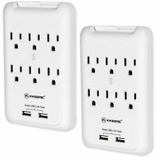 2 Pack 6-Outlet Wall Mount Surge Protector 900 Joule Power Strip with 2 USB Port