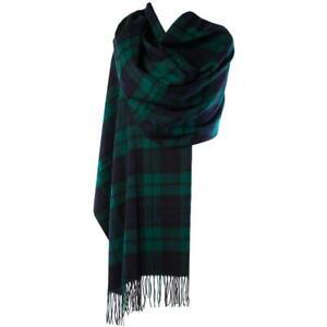 Winter Gift Edinburgh 100% Lambswool Tartan Stole Black Watch Green Scottish