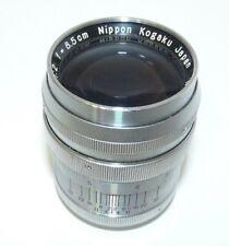 Nikon Nikkor P.C 8.5cm 85mm f/2 Leica Screw Mount L39 LTM Lens Japan Exc+