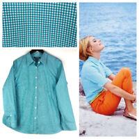 Ralph Lauren Chaps 2X 18 20 Button Down Shirt Top Blouse Plaid Gingham Teal